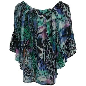NWT Cupio Animal Print Off The Shoulder Blouse Top